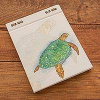 Recycled paper journal, 'Beneath the Ocean' (5.5 inch) - Sea Turtle Journal with Recycled Paper (5.5 in.)