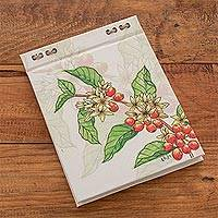 Recycled paper journal, 'Coffee Branch' (5.5 inch) - Coffee-Themed Journal with Recycled Paper (5.5 in.)
