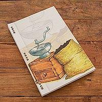 Recycled paper journal, 'Smell of Coffee' (8 inch) - Coffee-Themed Journal with Recycled Paper (8 in.)