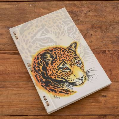 Recycled paper journal, 'Spotted Balam' (8 inch) - Jaguar-Themed Journal with Recycled Paper (8 in.)