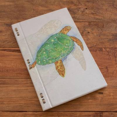 Recycled paper journal, 'Beneath the Ocean' (8 inch) - Sea Turtle Journal with Recycled Paper (8 in.)