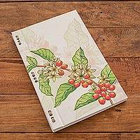 Recycled paper journal, 'Coffee Branch' (8 inch) - Coffee Bean Journal with Recycled Paper (8 in.)