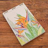 Hand painted journal, 'Bird of Paradise Flower' (8 inch) - Bird of Paradise Flower Hand Painted Journal (8 in.)