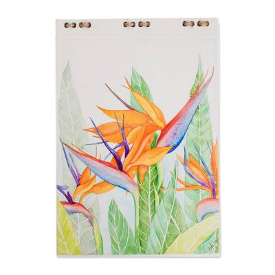Bird of Paradise Flower Hand Painted Journal (8 in.)