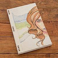 Hand painted journal, 'Feminine Subtlety' (8 inch) - Portrait Painting Journal with Recycled Paper (8 in.)