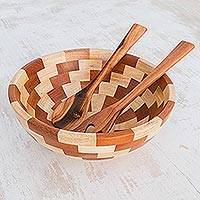 Wood salad bowl and servers, 'Home Freshness' - Palo Blanco and Caoba Wood Salad Bowl and Spoons