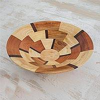 Wood serving bowl, 'Wheels' - Handmade Wood Serving Bowl from Guatemala