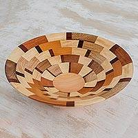 Wood serving bowl, 'Fragment' - Palo Blanco and Caoba Wood Serving Bowl from Guatemala