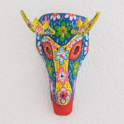 Wood mask, 'Floral Deer in Blue' - Floral Wood Deer Mask in Blue from Guatemala