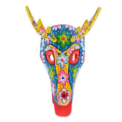 Wood mask, 'Floral Deer in Blue' - Floral Wood Deer Mask in Blue from Guatemala