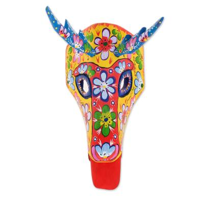 Wood mask, 'Floral Deer in Yellow' - Floral Wood Deer Mask in Yellow from Guatemala