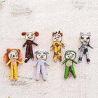 Cotton decorative dolls, 'Jungle Quitapenas' (set of 6) - Jungle-Themed Cotton Decorative Worry Dolls (Set of 6)