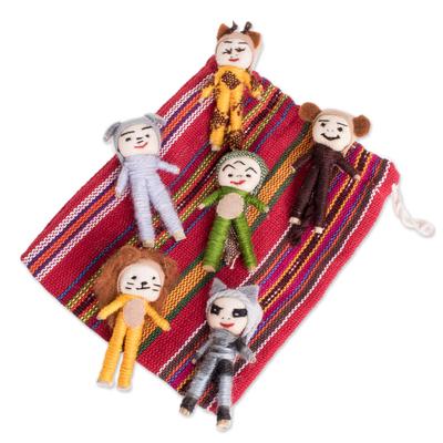 Cotton decorative dolls, 'Jungle Quitapenas' (set of 6) - Jungle-Themed Cotton Decorative Worry Dolls (Set of 6)