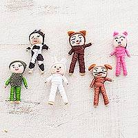 Cotton decorative dolls, 'Quitapenas Amigos' (set of 6) - Animal-Themed Cotton Decorative Worry Dolls (Set of 6)