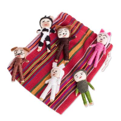 Cotton decorative dolls, 'Quitapenas Amigos' (set of 6) - Animal-Themed Cotton Decorative Worry Dolls (Set of 6)