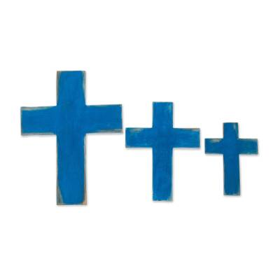 Distressed Wood Wall Crosses in Blue (Set of 3)