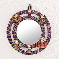 Cotton wall mirror, 'Quitapenas Harmony' - Colorful Cotton Wall Mirror with Worry Dolls from Guatemala