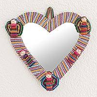Cotton wall mirror, 'Quitapenas Heart' - Heart-Shaped Cotton Wall Mirror with Worry Dolls