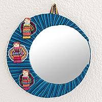 Cotton wall mirror, 'Quitapenas Moon' - Crescent-Shaped Cotton Wall Mirror with Worry Dolls