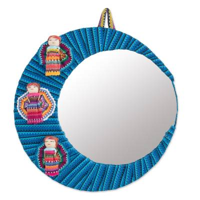 Crescent-Shaped Cotton Wall Mirror with Worry Dolls