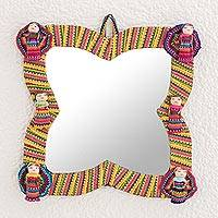 Cotton wall mirror, 'Quitapenas Beauty' - Colorful Cotton Wall Mirror with Worry Dolls from Guatemala