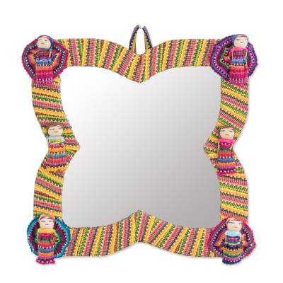 Colorful Cotton Wall Mirror with Worry Dolls from Guatemala