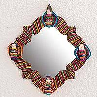 Cotton wall mirror, 'Quitapenas Happiness' - Handmade Cotton Wall Mirror with Worry Dolls from Guatemala