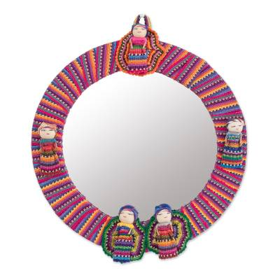 Circular Cotton Wall Mirror with Worry Dolls from Guatemala