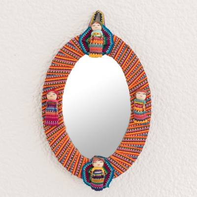 Cotton wall mirror, 'Quitapenas Oval' - Oval Cotton Wall Mirror with Worry Dolls from Guatemala