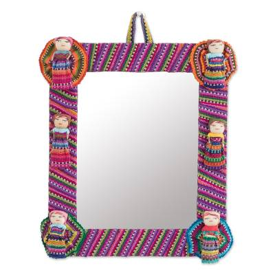 Cotton wall mirror, 'Quitapenas Rectangle' - Rectangular Cotton Wall Mirror with Worry Dolls