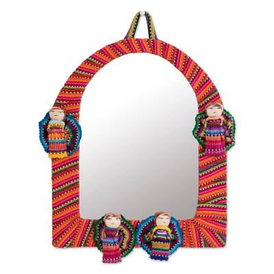 Arch-Shaped Cotton Wall Mirror with Worry Dolls