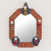 Cotton wall mirror, 'Quitapenas Octagon'