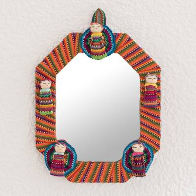 Cotton wall mirror, 'Quitapenas Octagon' - Octagonal Cotton Wall Mirror with Worry Dolls from Guatemala