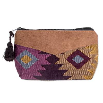 Geometric Cotton Cosmetic Bag with Faux Leather Accent
