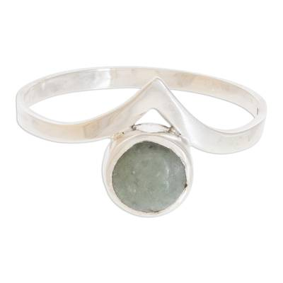 Apple Green Jade Band Ring Crafted in Guatemala