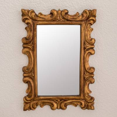 Wood wall mirror, 'Elegant Duchy' - Curl Motif Conacaste Wood Wall Mirror from Guatemala