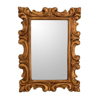Curl Motif Conacaste Wood Wall Mirror from Guatemala