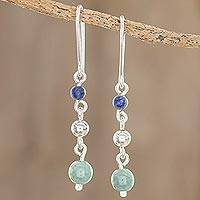Jade and lapis lazuli dangle earrings, 'Subtle Combination' - Round Jade and Lapis Lazuli Dangle Earrings from Guatemala