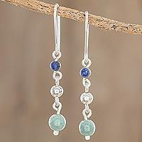 Jade and lapis lazuli dangle earrings, 'Subtle Combination' - Round Jade and Lapis Lazuli Dangle Earrings from Guatemala