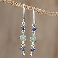 Jade and lapis lazuli dangle earrings, 'Delightful Combination' - Round Jade and Lapis Lazuli Dangle Earrings from Guatemala
