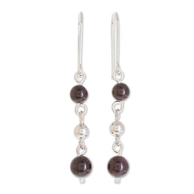 Garnet dangle earrings, 'Lovely Passion' - Round Garnet Dangle Earrings Crafted in Guatemala