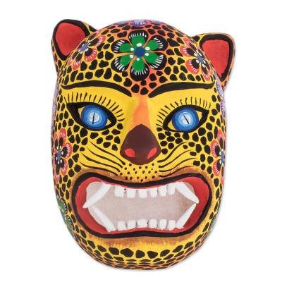 Wood mask, 'Jaguar Guardian' - Hand-Painted Wood Jaguar Mask from Guatemala