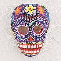 Wood mask, 'Life Eternal' - Floral Skull Wood Wall Mask from Guatemala