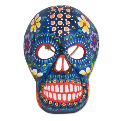 Wood mask, 'Life and Happiness' - Hand-Painted Blue Floral Wood Skull Mask from Guatemala