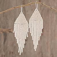 Ceramic beaded waterfall earrings, 'Delightful Cascades in Linen' - Ceramic Beaded Waterfall Earrings in Linen from Guatemala