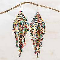 Ceramic beaded waterfall earrings, 'Multicolored Cascades' - Multicolored Ceramic Beaded Waterfall Earrings