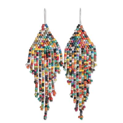 Ceramic beaded waterfall earrings, 'Multicolored Cascades' - Multicolored Ceramic Beaded Waterfall Earrings