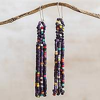 Ceramic beaded waterfall earrings, 'Wonderful Harmony in Iris' - Ceramic Beaded Waterfall Earrings in Iris from Guatemala
