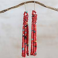 Ceramic beaded waterfall earrings, 'Wonderful Harmony in Chili' - Ceramic Beaded Waterfall Earrings in Chili from Guatemala