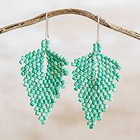 Ceramic beaded dangle earrings, 'Elegant Wind in Green' - Leaf-Shaped Ceramic Beaded Dangle Earrings in Green